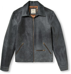 Billy Reid Cracked Brushed-Leather Jacket