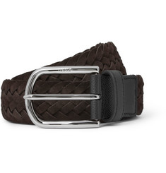 Tod's Brown 3.5cm Woven Suede and Fabric Belt