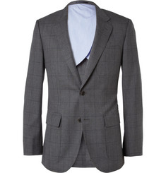 J.Crew Grey Ludlow Slim-Fit Windowpane-Check Wool Suit Jacket
