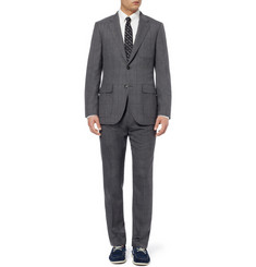 J.Crew Grey Ludlow Windowpane-Check Wool Suit Trousers
