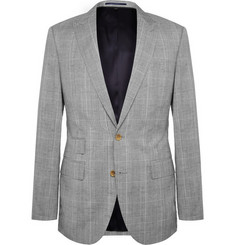 J.Crew Grey Slim-Fit Prince Of Wales Checked Wool and Linen-Blend Suit Jacket