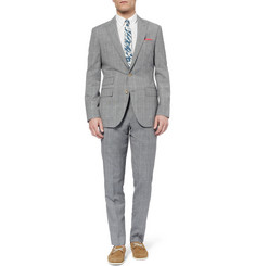 J.Crew Prince Of Wales Check Wool and Linen-Blend Suit Trousers