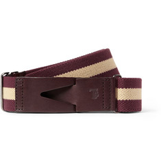 Tod's Leather-Trimmed Striped Canvas Belt