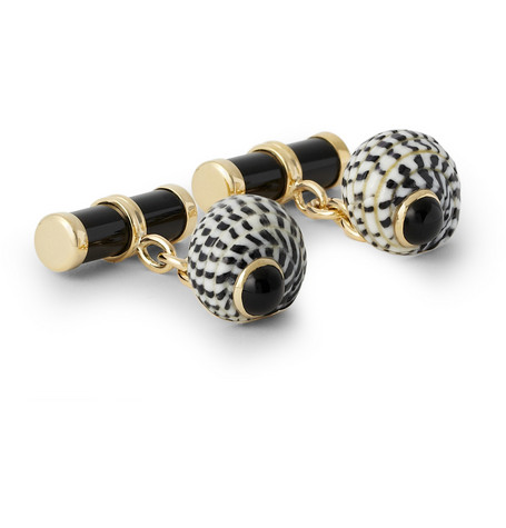 Trianon Gold, Onyx And Shell Cufflinks
