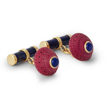 Trianon 18-Karat Gold, Lapis And Shell Cufflinks