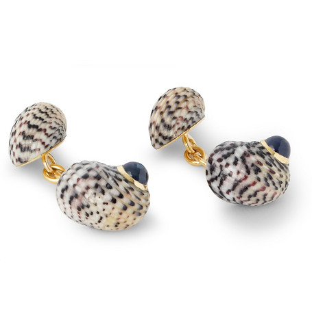 Trianon 18-Karat Gold, Sapphire And Shell Cufflinks