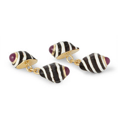 Trianon Gold, Ruby And Shell Cufflinks