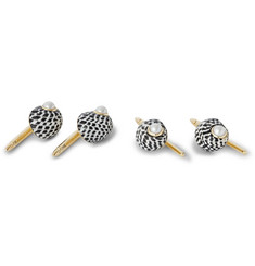 Trianon Gold-Plated, Pearl And Shell Studs