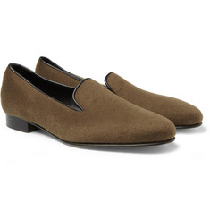 George Cleverley Albert Leather-Trimmed Cashmere Slippers