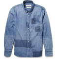 Remi Relief Button-Down Collar Patchwork Denim Shirt