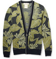 Remi Relief Leaf-Print Cotton-Jacquard Cardigan