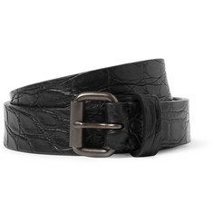 Álvaro Black 2.5cm Alligator Belt