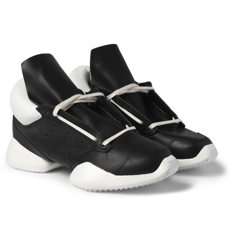 Rick Owens Adidas Leather and Rubber Sneakers