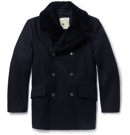 Private White V.C. Shearling Collar Wool Peacoat