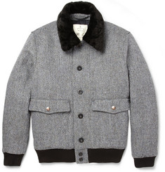 Private White V.C. Harris Tweed and Shearling Quilted Bomber Jacket