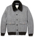 Private White V.C. - Harris Tweed and Shearling Quilted Bomber Jacket