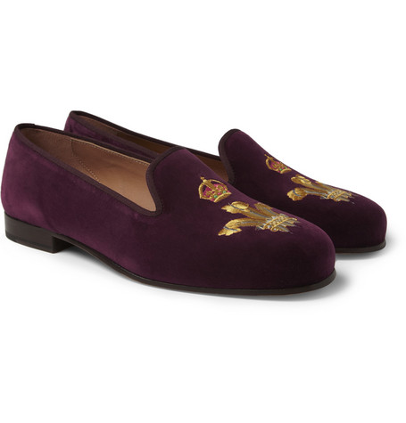 Stubbs & Wootton Embroidered Velvet Slippers