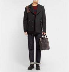 Maison Martin Margiela Leather-Trimmed Cotton-Twill Short Trench Coat