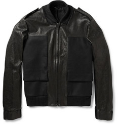 Maison Martin Margiela Felt-Panelled Leather Bomber Jacket