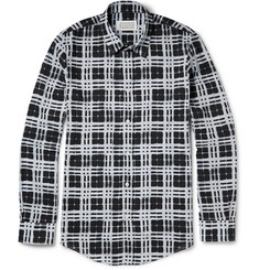 Maison Martin Margiela Slim-Fit Stenciled-Check Cotton Shirt