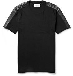 Maison Martin Margiela Coated-Shoulder Cotton-Jersey T-Shirt