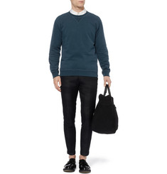 Maison Martin Margiela Leather Elbow Patch Cotton-Jersey Sweatshirt