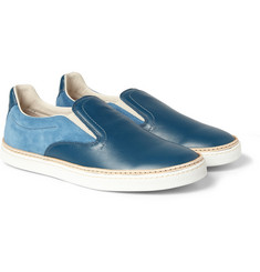 Maison Martin Margiela Panelled Leather and Suede Slip-On Sneakers