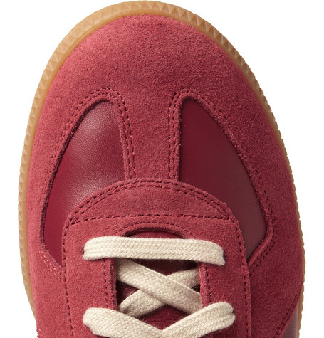 Maison Martin MargielaPanelled Leather and Suede Sneakers