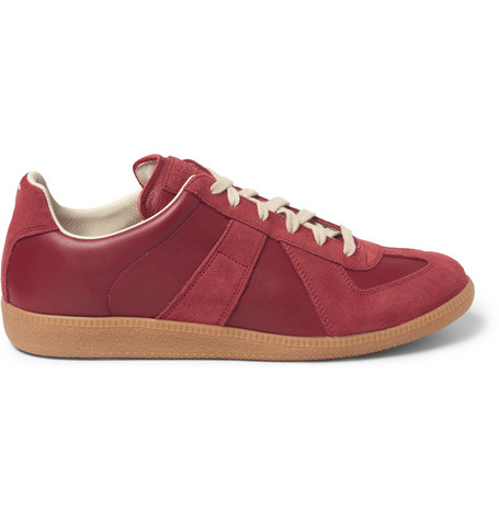 Maison Martin Margiela Panelled Leather and Suede Sneakers