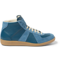 Maison Martin Margiela Panelled Leather and Suede High Top Sneakers