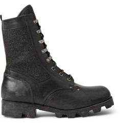 Maison Martin Margiela Replica Leather and Felt Combat Boots