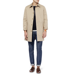 A.P.C. Faux Suede-Trimmed Cotton-Blend Raincoat