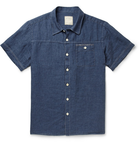 Billy Reid Linen-Chambray Short-Sleeve Shirt