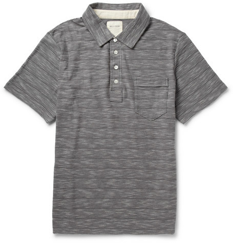 Billy Reid Warner Striped Slub-Cotton Polo Shirt