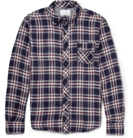 Billy Reid Tanner Plaid Cotton Shirt