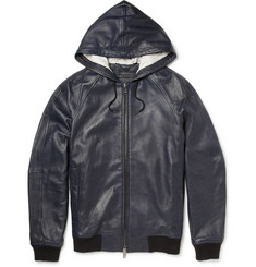 Marc by Marc Jacobs Hooded Leather Bomber Jacket