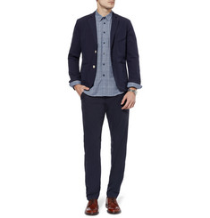 Folk Navy Tapered Cotton Suit Trousers