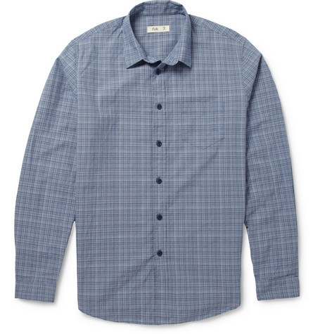 Folk Slim-Fit Check Cotton Shirt