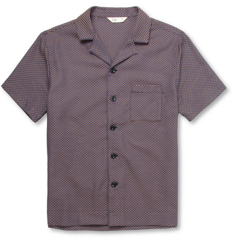 Folk Slim-Fit Short-Sleeved Textured Cotton Shirt