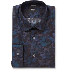Paul Smith London Navy Leaf-Print Cotton Shirt