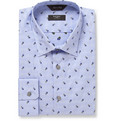 Paul Smith London Blue Flower-Embroidered Cotton Shirt
