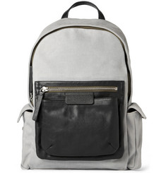 Marc by Marc Jacobs 2 Pock & Biggie Leather-Trimmed Waxed-Twill Backpack