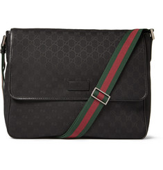 Gucci Leather-Trimmed Canvas Messenger Bag