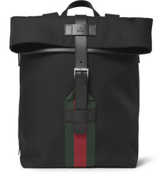 Gucci Leather and Nylon-Canvas Backpack