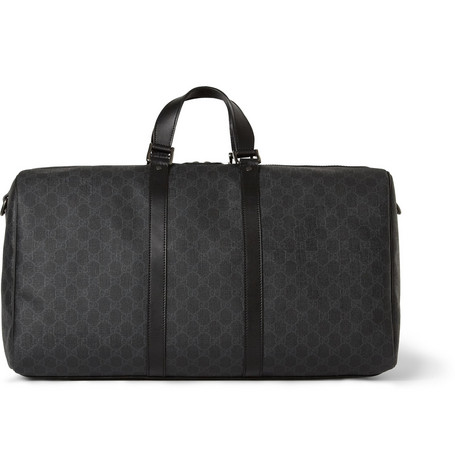 Gucci Printed Textured-Leather Holdall Bag
