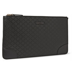 Gucci Diamond-Embossed Leather Zip Pouch