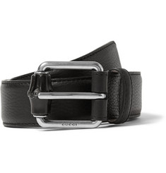 Gucci Black 3.5cm Textured-Leather Bamboo Buckle Belt