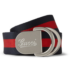Gucci - 4cm Striped Canvas Belt