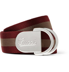 Gucci 4cm Striped Webbing Belt