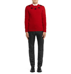 Givenchy Star-Trim Striped Wool Sweater